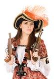 Славная молодая женщина с оружи стоковое фото