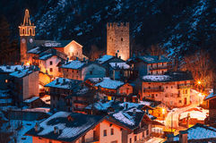 Славная старая деревня в горе Стоковое Изображение