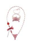 Славное ожерелье на белизне Стоковая Фотография