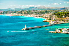 Славный город, Средиземное море, Франция, французская ривьера стоковое изображение rf