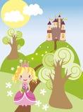 Славный замок с принцессой на зеленых холмах иллюстрация вектора