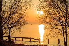 Славный заход солнца реки Стоковое Фото