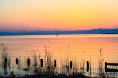 Славный заход солнца реки Стоковые Фотографии RF