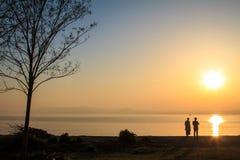 Славный заход солнца реки Стоковая Фотография RF