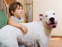 Славный малыш девушки на кресле с собакой Стоковое Фото