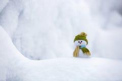 Славный мечтая снеговик в зеленой шляпе Стоковые Изображения RF