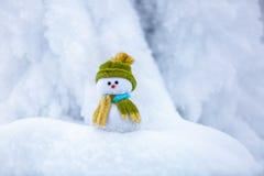 Славный мечтая снеговик в зеленой шляпе Стоковые Фото
