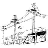 С автомобилем на улице бесплатная иллюстрация