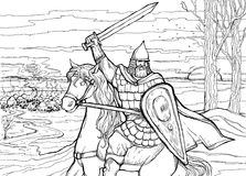 Славянский ратник верхом подготавливая атаковать враждебный лагерь Стоковое Изображение RF