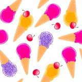 Сладостная безшовная картина с конусами и вишнями мороженого плодоовощ multiciolor Стоковая Фотография RF