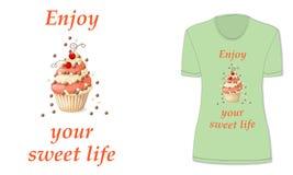 Сладостная жизнь с пирожным и красной смородиной, модель-макет Стоковые Изображения