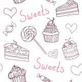 Сладостная картина doodle с пирожными, тортами, конфетами и сердцами Картина вектора нарисованная рукой безшовная Стоковое Изображение