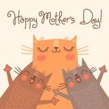 Сладостная карточка на день матерей с котами Стоковое Фото