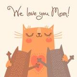 Сладостная карточка на день матерей с котами Стоковые Изображения