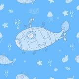 Сладостная подводная лодка на океанском дне бесконечная картина внутри Стоковое Фото