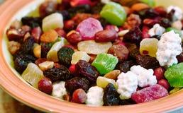 Сладостная смесь различной изюминки плодоовощ гаек Стоковая Фотография