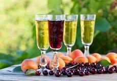 Сладостное вино и плодоовощи Стоковые Изображения