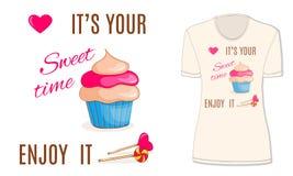 Сладостное время с пирожным, конфетой и сердцем, mocup Стоковые Фотографии RF