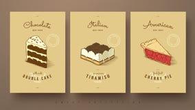 Сладостное собрание двойного пирога торта, тирамису и вишни Стоковое фото RF