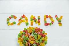 Сладостное слово с candied плодоовощами Стоковая Фотография RF