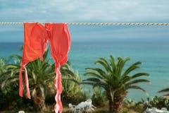 Сладостно-горький оранжевый купальник женщины Стоковые Изображения
