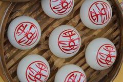Сладостные белые плюшки, фестиваль плюшки Cheung Chau стоковая фотография