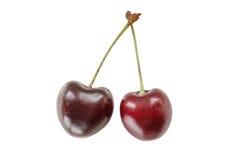 Сладостные вишни на белой предпосылке Стоковое фото RF