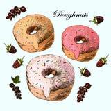 Сладостные вкусные donuts на белой предпосылке Иллюстрация вектора