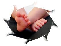 Сладостные дети семьи карточки поздравлению ног младенца Стоковые Фотографии RF