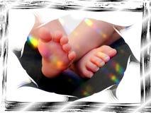 Сладостные дети семьи карточки поздравлению ног младенца Стоковое Фото