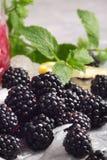 Сладостные, зрелые, темные ежевики Вкусные ягоды и свежая мята на белой предпосылке льда Конец-вверх ежевик, и Стоковое фото RF