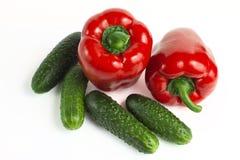 Сладостные красные болгарский перец и огурец Стоковые Фото