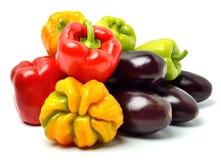 Сладостные перцы и aubergines Стоковое Фото