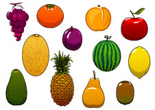 Сладостные свежие фрукты и ягоды в стиле шаржа Стоковые Изображения