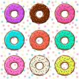 Сладостные donuts установленные с замороженностью и брызгают изолированный, предпосылка вектор иллюстрация вектора