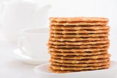 Сладостные waffles на белой плите Стоковое Фото