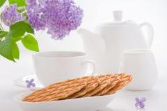 Сладостные waffles на белой плите Стоковое Изображение RF