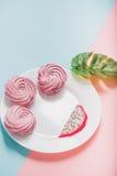 Сладостный десерт на белой утвари Стоковые Изображения RF