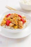 Сладостный и кислый цыпленок с рисом стоковые изображения