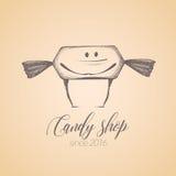 Сладостный магазин, логотип вектора кондитерскаи магазина конфеты, значок Стоковое Фото