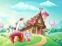 Сладостный дом печений и конфеты Стоковое Изображение