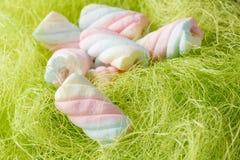 Сладостный переплетенный зефир в гнезде птицы Стоковое Изображение