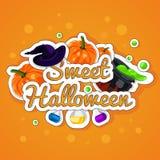 Сладостный хеллоуин halloween счастливый Плакат, открытка на хеллоуин Праздник, тыквы, котел ведьм, зелье, бутылки Стоковые Изображения