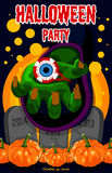 Сладостный хеллоуин halloween счастливый Плакат, открытка на хеллоуин Праздник, рука ведьм, зелье, химическая реакция, волшебство Стоковая Фотография