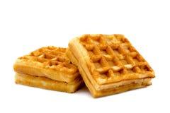 2 сладостных венских waffles завтракают изолированный на белой предпосылке Стоковое фото RF