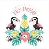 С днем рождения ананас toucans поздравительной открытки краснеет розовая мята Стоковое Изображение