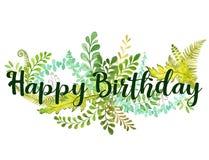 С днем рождения вектор иллюстрации текста и листвы нюанс флоры с стилем акварели стоковое фото