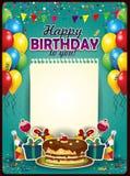 С днем рождения с вертикалью листа бумаги Стоковое фото RF