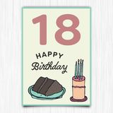 С днем рождения восемнадцатая поздравительная открытка лет Стоковая Фотография RF