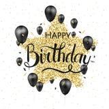 С днем рождения дизайн вектора оформления для поздравительных открыток и плаката с воздушным шаром, confetti и подарочной коробко бесплатная иллюстрация